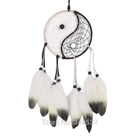 Dream Catchers - Taiji Dream Catcher Circular Net With Feathers Wall Hanging Ornament