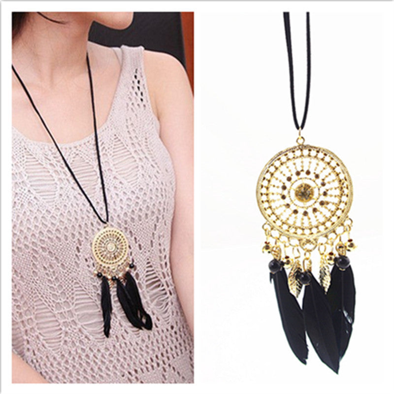Necklace - Exquisite Indian Feather Leaf Hollow Lace Circle Dream Catcher Necklace