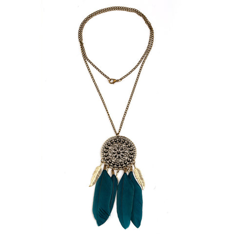 Necklace - Feather Leaves Dream Catcher Necklace