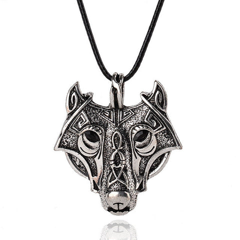 Necklace - Norse Vikings Wolf Head Pendant Necklace