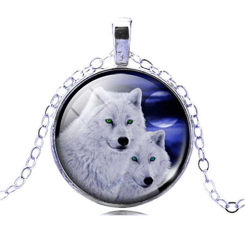 Necklace - Wolf Picture Glass Cabochon Statement Chain