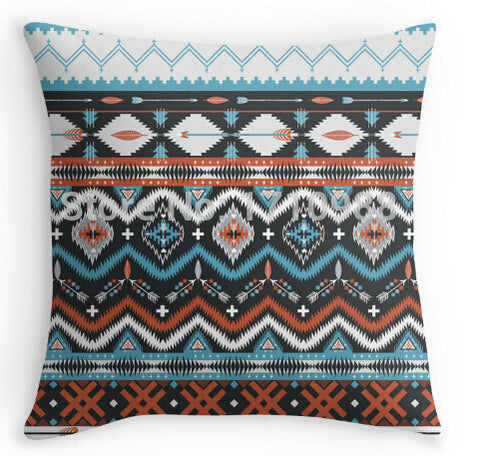 Pillow Case - Native American Seamless Tribal Pattern With Geometric Elements Throw Pillow Cases
