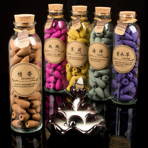 Glass Bottle (58pcs)  Natural Smoke Hollow Incense Cones - Indo Wolf