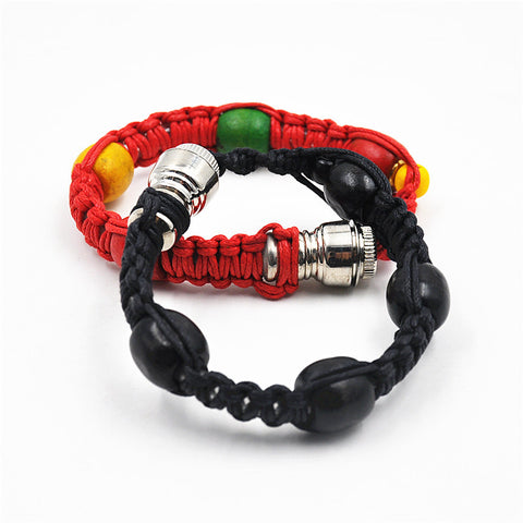 Natural Hemp Rope Bead Bracelet With Smoking Pipe - Indo Wolf