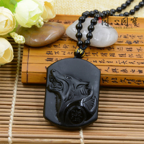 Black Obsidian Wolf  Necklace - Indo Wolf