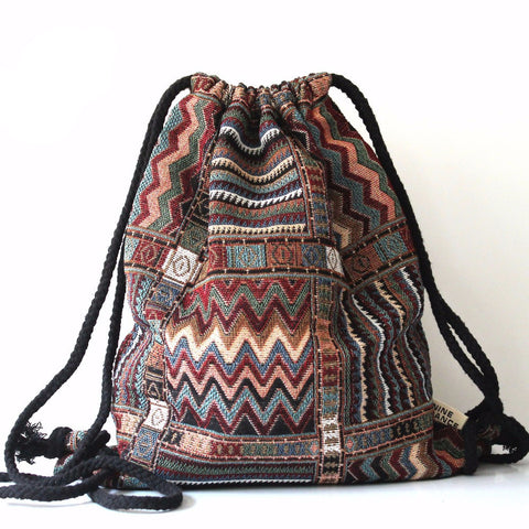 Aztec Tribal Ethnic Fabric Brown String Drawstring Backpack Bag - Indo Wolf