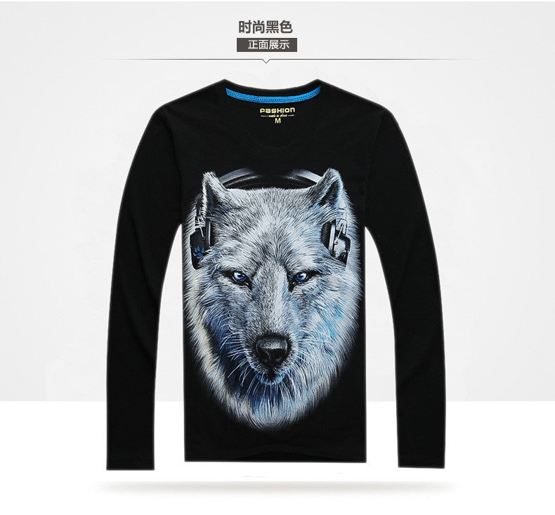 3D White Wolf Men Long Sleeve Fitness Tshirt - Indo Wolf