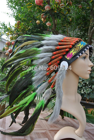 Indian Feather Headdress (Lime Green ) - Indo Wolf
