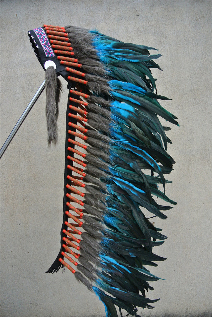 Native American Style 36in Turquoise Headdress (Handmade) - Indo Wolf