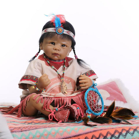 Native American Indian Reborn Baby Dolls 22in - Indo Wolf