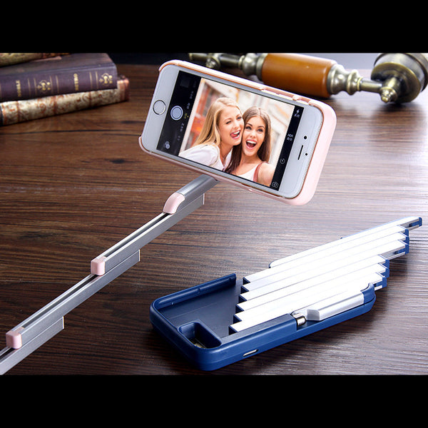 Selfie Stick Phone Case For iPhone6 6s Retractable  Bluetooth Remote Control - Indo Wolf