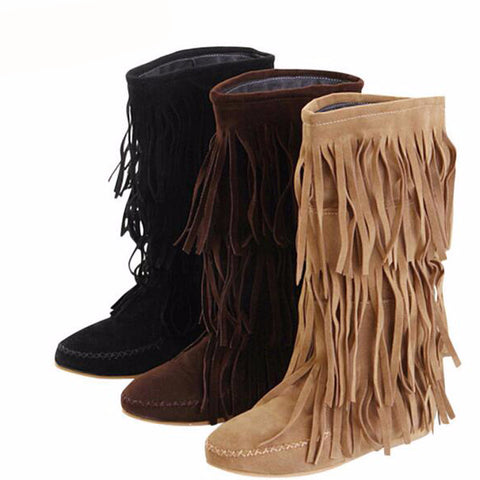 Native American Style Moccasin Flat 3 Layers Fringe Boots - Indo Wolf