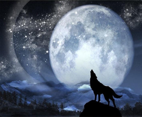 Howling Moon Wolf 3D Wallpaper - Indo Wolf