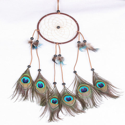Handmade Dream Catcher Peacock Feather - Indo Wolf
