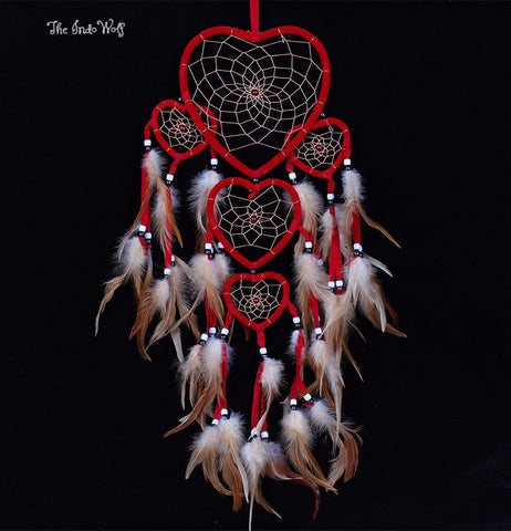Layered Heart Shaped Dream Catcher - Indo Wolf