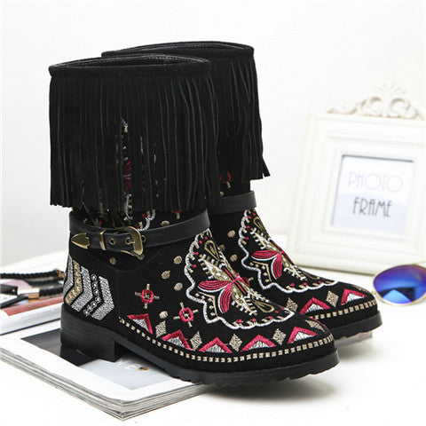 Leather Fringe/Tassel Embroidery Boots - Indo Wolf