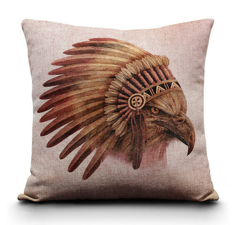 Native American Hawk Throw Pillow Case - Indo Wolf