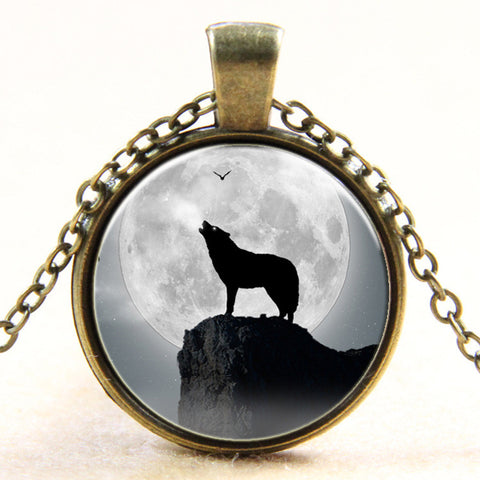 Glass Tile Necklace Wolf Necklace - Indo Wolf
