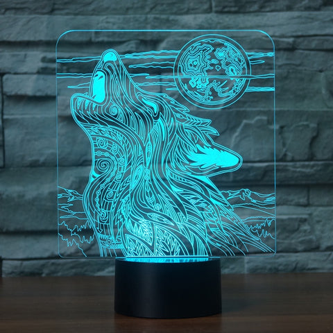 3D Illusion Light Wolf Shape LED  Light with 7 Color's
