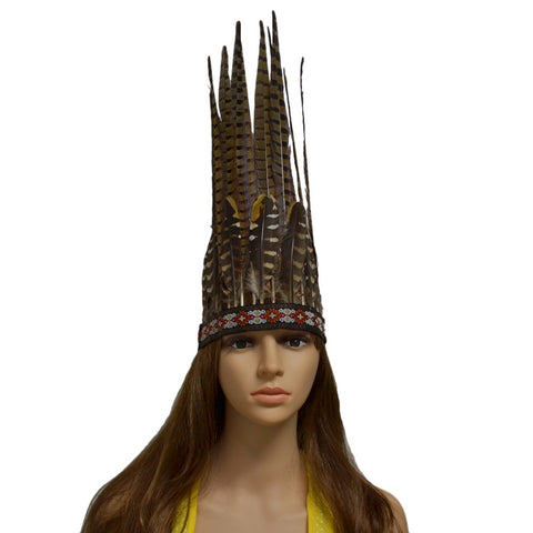 Feathers Tribe Chief Headdress Costume  (Unisex) - Indo Wolf