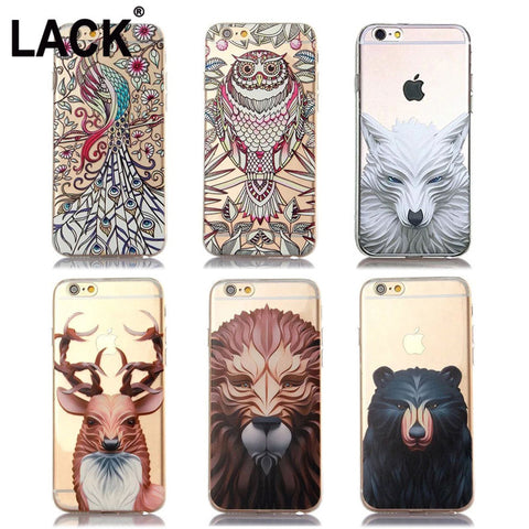 Apple iPhone 6 Case Animal Printed Soft TPU Cartoon Back Cover - Indo Wolf