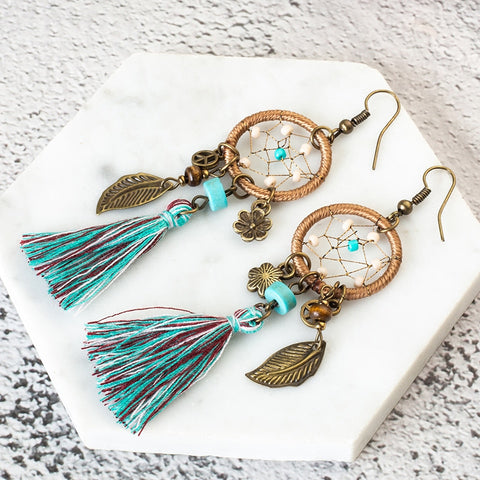 Bohemian Dream Catcher Tassel Earrings - Indo Wolf
