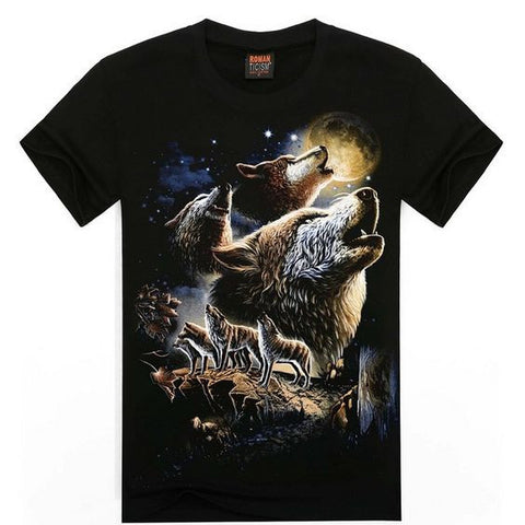 T-shirt Wolf 3D Printing Cotton T Shirt Short Sleeve - Indo Wolf