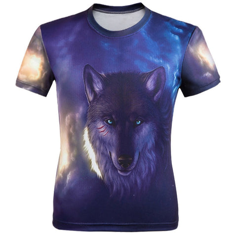 T shirt Men Animal print Short Sleeve - Indo Wolf