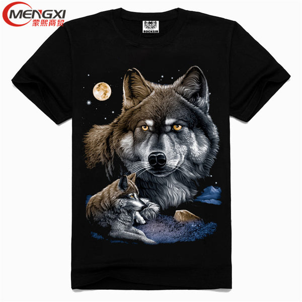 T-Shirt Wolf Printed Cotton Plus Size