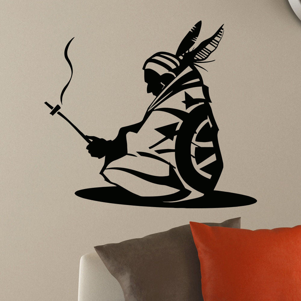 Wall Decor - WALL DECAL VINYL STICKER PEOPLE NATIVE AMERICAN INDIAN MAN TRIBAL DECOR