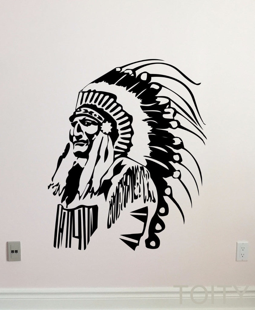 Wall Stickers - Native American Wall Decal Feather Indian Chief Vinyl Sticker