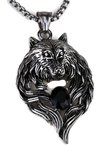 Wolf Necklace - Wolf Stainless Steel Necklace For Men Women 316L Pendant W Chain
