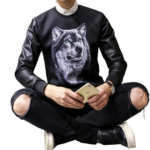Wolf Shirt - Black Wolf Head Print Long Sleeve Round Neck Men Street Sweatshirt Plus Size M-5XL