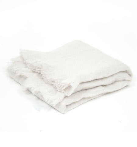 Natural Bone Mohair Throw