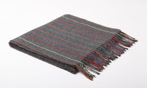 Multi Colour Pinstripe Lambswool Scarf