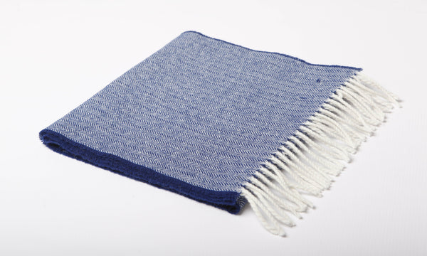 Royal Blue Herringbone Lambswool Scarf