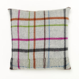 Grey/Multi Windowpane Lambswool Pillow – Small