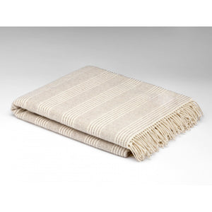 Natural/Grey Stripe Lambswool Throw