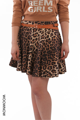 Animal Print Skater Mini Skirt