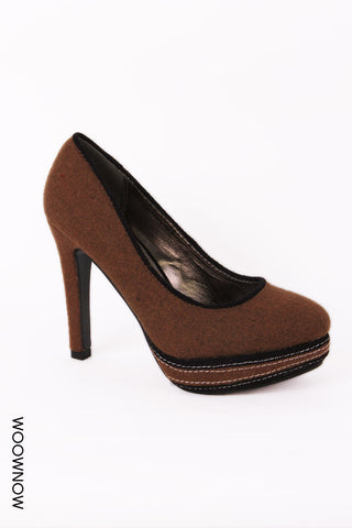 Madison Smart Felt Heeled Court Shoes