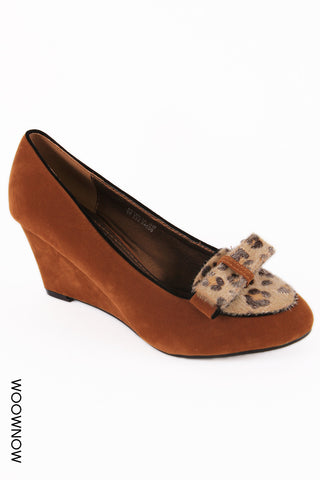 Jane Suede Bow Wedge Shoes