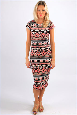 Abstract Aztec Print Midi Dress