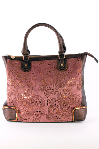 Panelled, Lace Insert Tote Bag