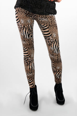 Velvet Texture Animal Print Leggings