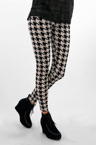 Velvet Texture Check Leggings