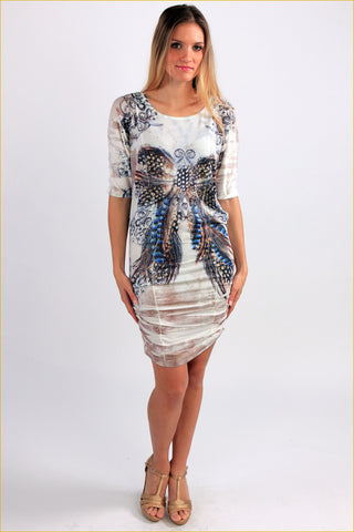 Butterfly Printed Studded Mini Dress