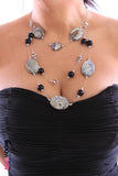 3 Rows Mixed Beads and Polished Stones Necklace