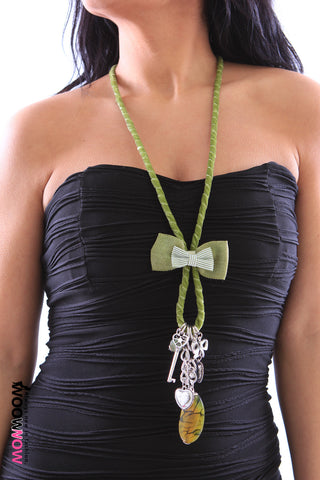 Velvet Necklace with Charm Pendants and Bow