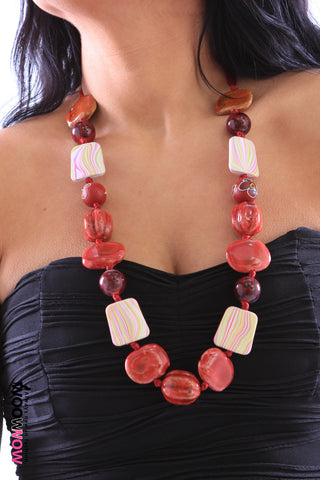 Red Ribbon and Bead Necklace