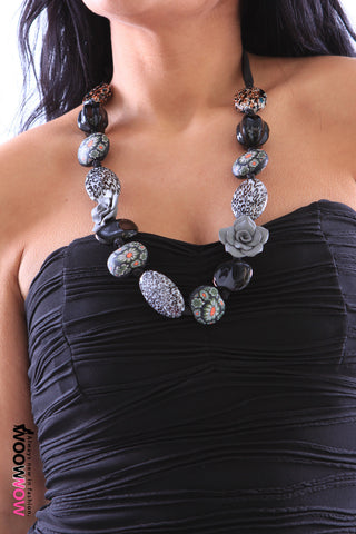 Black Ribbon and Bead Necklace